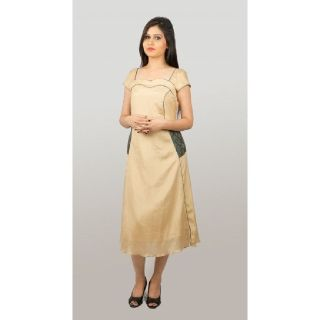 GOLDEN SILK WITH BROCADE POCKETS - Jayshops