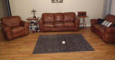 Brown Leather couch, loveseat and chair
