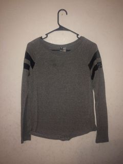 Small Gray Long Sleeve with Sheer Black Stripes