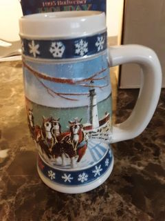 1995 Budweiser Holiday Stein lighting the way home