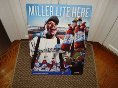 Promo 2009 MILLER LITE Beer Here Milwaukee Brewers Tacker Tin Sign