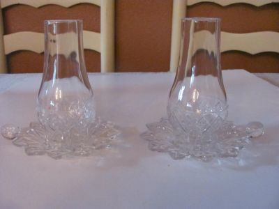 Pair of Crystal Hurricane candle holders