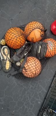 Basketballs, Baseball Mitt, Cleets, and Baseball