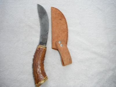 "Hand made carbonized knife with stag handle and leather sheath, 6 1/2"" blade"