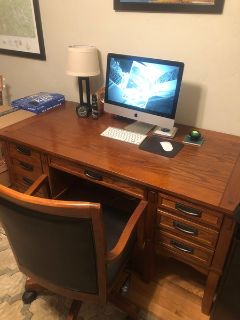 Solid hardwood desk, bookcase, chair