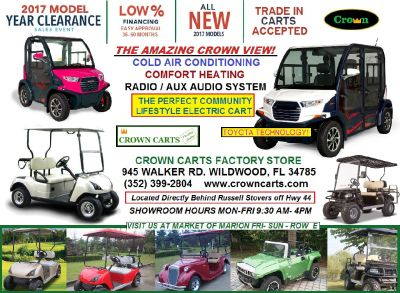 CROWN GOLF CAR- GOLF CARTS ELECTRIC GOLF CARTS A/C HEAT RADIO MORE