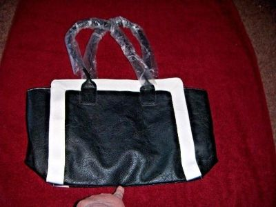 NEW Medium to Large TOTE Black with White Trim