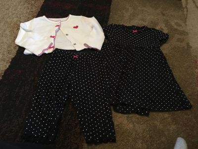Carters 9m 3pc dress with onesie, pants & cardigan - ppu (near old chemstrand & 29) or PU @ the Marcus Pointe Thrift Store (on W st)