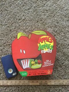Apples to Apples Family game, includes all the cards and instructions, does not include the little apple chips that are optional. $2.00