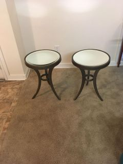 Set of Metal Mirrored End Tables