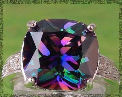 New - Rainbow and White Topaz Ring - Size 8