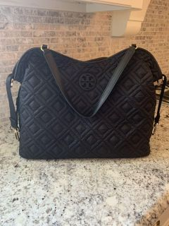 TORY BURCH MARION QUILTED SLOUCHY BLACK BABY DIAPER BAG - 100% AUTHENTIC