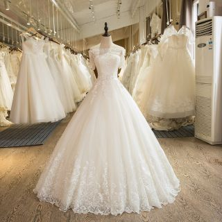 Donna's Lace and Tulle A Line Wedding Dress