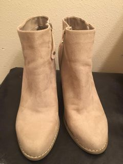 UEC Taupe suede bootie size 10