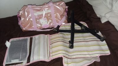 Hello kitty diaper bag, diaper changer and 3 baby car shades
