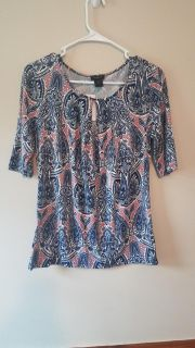 Ann Taylor Pretty Blue Pink Keyhole Neckline 3/4 Sleeve Top Size S small