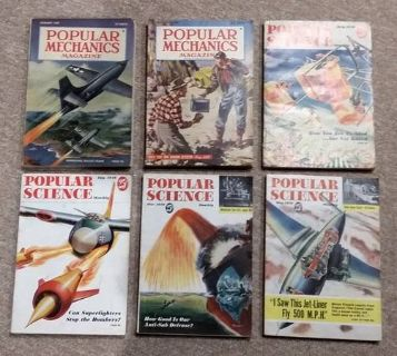 (6) 1940's-50's Vintage Popular Mechanics and Popular Science Magazine