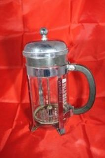 GLASSWARE: Starbucks French press, Crystal and silver ice bucket