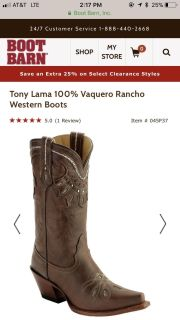Tony lama size 5.5 only worn 4 times org.$229