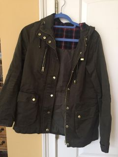 Super cute stylish army green jacket with gold accents and black elbow embellishments Size US 2 EUR 34