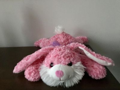 16 Pink Bunny with Purple Ribbon Bow