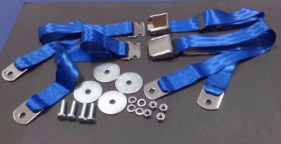 Purchase 1955-1972 CHEVROLET GMC PICKUP TRUCK VINTAGE CHROME 2 BRIGHT BLUE SEAT BELT SETS motorcycle in Madera, California, United States, for US $54.00