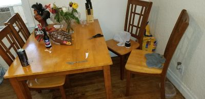 Kitchen table set and dvd rack