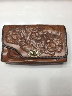 Vintage reversible brown tooled leather purse