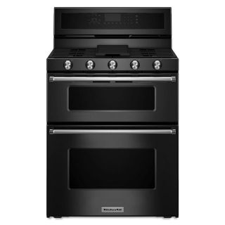 "KitchenAid 30"" Black Double Oven Range Gas KFGD500EBL"