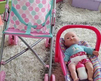 Baby doll with carrier, stroller and play pen