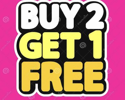 BUY 2 GET 1 FREE - ALL WEEKEND - ALL ITEMS!