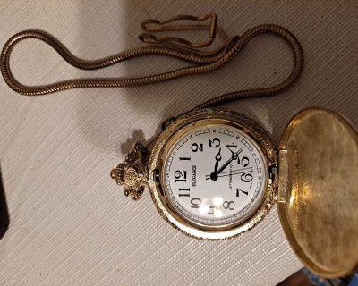 Vintage R Henry Antimagnetic pocket watch Hunting Scene C1970's-$30