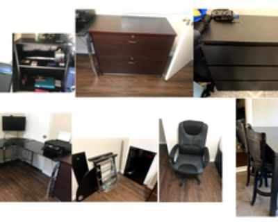 Free and cheap furniture: bookshelves, desk, chair, dressers, table