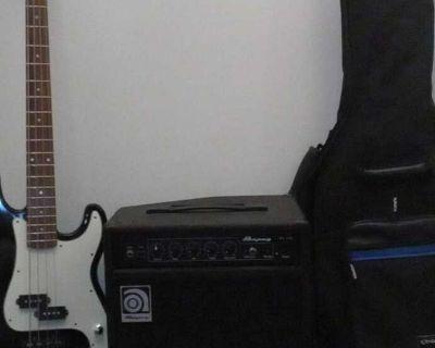 Renegade Electric Bass Guitar+ Ampeg Bass Amp+ Bass Guitar Carrying Case
