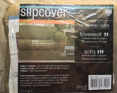 """sofa or loveseat slipcover, brand new, sage green color, """"suede"""" polyester fabric"""
