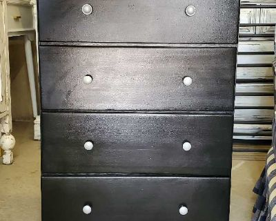 Dresser Chest Refinished Black And Silver Pulls All Wood 120