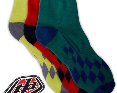 Troy Lee Designs Tld Quarter Crew Socks- Race Checkered Multi 3-pack- 2 Sizes