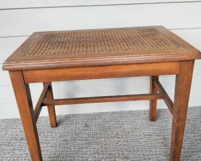 Small Wooden Bench w/ Weaved Top