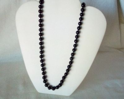 """Black Beaded Necklace - 11 1/2"""" Long"""