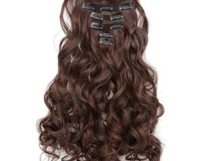 Curly full head clip in synthetic hair extensions