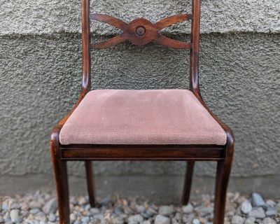 Vintage antique hardwood chair velvet cushion