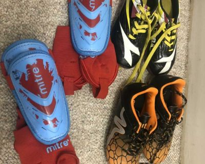 Kids size 12 Soccer cleats and shin guards
