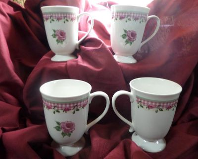 4) large pink rose and gingham check coffee cups mugs