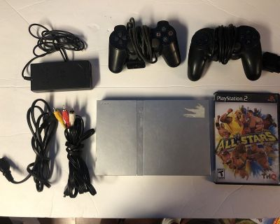 Play Station 2 Silver Slim with Game & 2 Controllers
