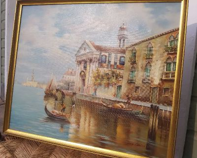 River boats Italy painting picture