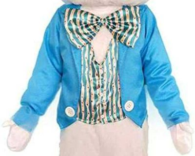 New, unisex deluxe bunny costume. 100% Polyester. Adult Size-Can fit 5'3''-6'1'' under 200lbs.