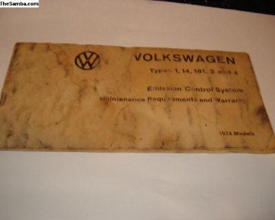 1974 VW Emission Control System Booklet