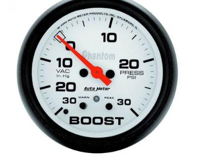 "Auto Meter 5877 Phantom 2-5/8"" Electric Boost/vacuum Gauge, 30 In Hg/30psi"