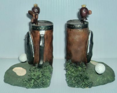 New - Pair of Golf Clubs Bookends