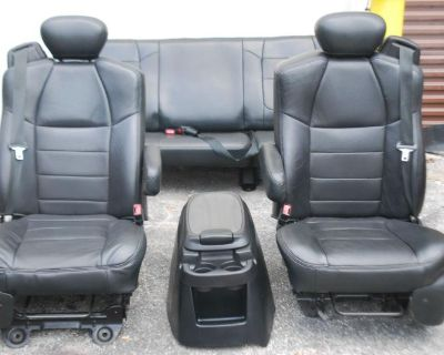 99-07 Ford F250 F350 F450 F550 Black Leather Seats Console Super Extended Cab